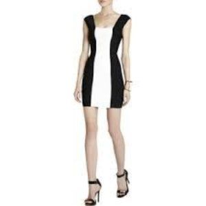 BCBG MAXAZRIA Black & White Vela Bandage Dress